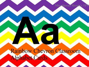 Rainbow Chevron Class Alphabet Cards