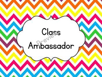 Rainbow Chevron Class Helpers & Class Ambassador Sign