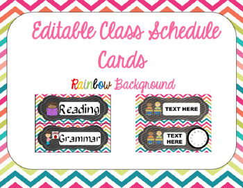 Rainbow Chevron Class Schedule Cards