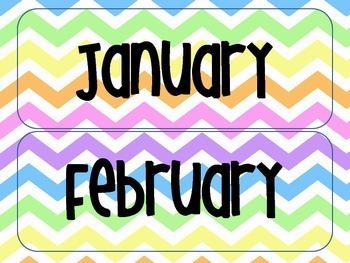 Rainbow Chevron Classroom Calendar Set
