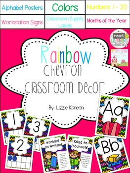 Rainbow Chevron Classroom Decor Pack