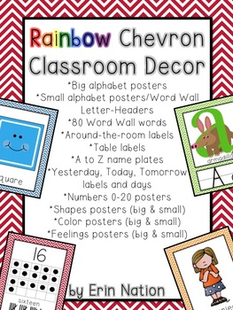 Rainbow Chevron Classroom Decor bundle
