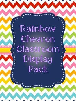 Classroom Display Pack: Rainbow Chevron Theme