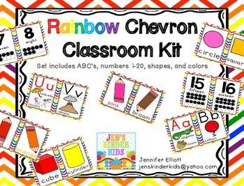 Rainbow Chevron Classroom Kit