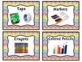 Rainbow Chevron Classroom Label Bundle Pack