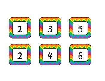 Rainbow Chevron Classroom Labels