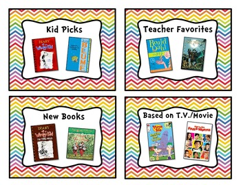 Rainbow Chevron Classroom Library Book Basket Label Add-On Pack