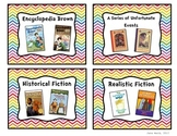 Rainbow Chevron Classroom Library Book Basket Labels