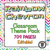 Classroom Theme Decor / Organization - Mega Bundle (Editable!) - Rainbow Chevron