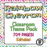 Classroom Theme Decor / Organization - Mega Bundle (Editable!) - Rainbow Chevron