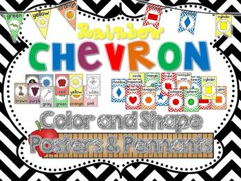 Rainbow Chevron Color & Shape Posters and Pennants