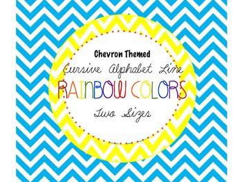 Rainbow & Chevron Cursive Alphabet Line