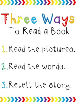 Rainbow Chevron Daily 5 Posters: Three Ways to Read a Book, I Pick, Stamina