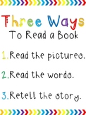 Rainbow Chevron Daily 5 Posters: Three Ways to Read a Book