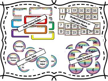 Rainbow Chevron Decor Pack {Perfect for Upper Elementary}