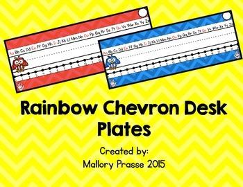 Rainbow Chevron Desk Plates