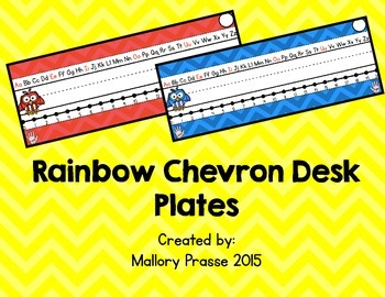 Rainbow Chevron Desk Plates