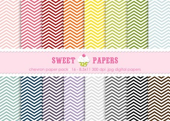 Rainbow Chevron Digital Paper Pack - by Sweet papers