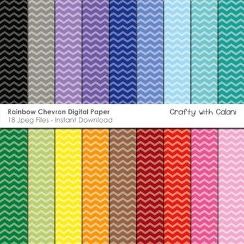 Chevron in Rainbow Colors Digital Paper Set