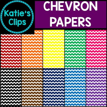Rainbow Chevron Digital Papers {Katie's Clips Clipart}