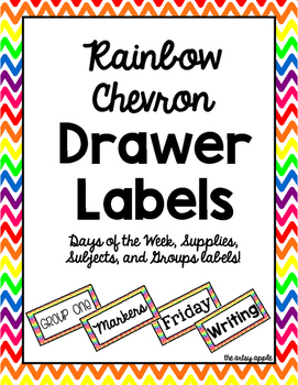 Rainbow Chevron Drawer Labels