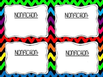 Rainbow Chevron Editable Book Bin Lables