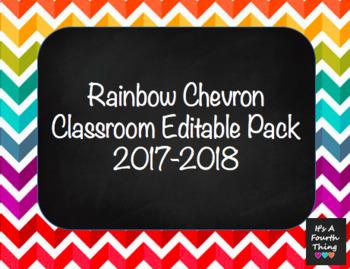 Rainbow Chevron Editable Classroom Labels Pack