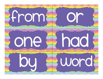 Rainbow Chevron High Frequency Words