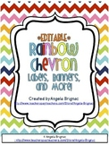 Rainbow Chevron Label Pack {Cute, Colorful, EDITABLE!}