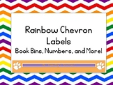 Primary Colors Rainbow Chevron Labels (Book Bins & Numbers)
