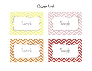 Rainbow Chevron Labels in 16 Colors