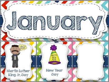 Rainbow Chevron Monthly Holiday Toppers