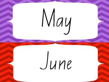 Rainbow Chevron Months of Year