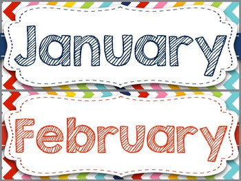 Rainbow Chevron Months of the Year & Days of the Week (Bundled Pack)