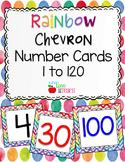 Rainbow Chevron Number Cards 1 to 120 FREEBIE