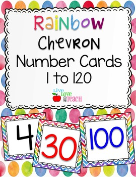 Rainbow Chevron Number Cards 1 to 120 FREEBIE