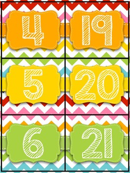 Rainbow Chevron Number Cards