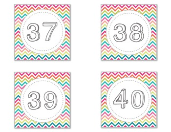 Rainbow Chevron Number Labels