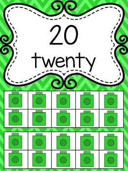 Rainbow Chevron Number Line to 20 (With ten frames)