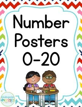 Rainbow Chevron Number Posters