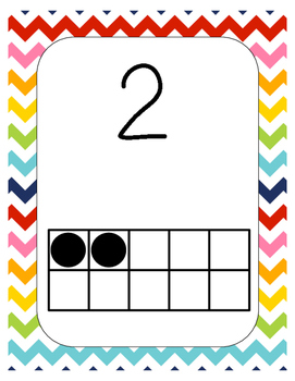 Rainbow Chevron Number Posters with ten frames #1-20 FULL PAGE!