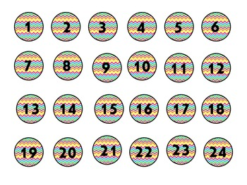 Rainbow Chevron Numbers 1-30