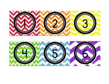 Rainbow Chevron Numbers 1-31