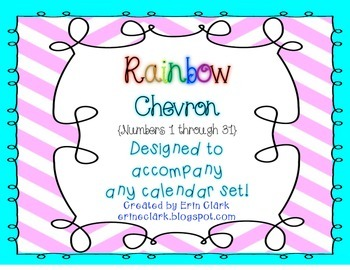 Rainbow Chevron Numbers 1-31