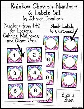 Rainbow Chevron Numbers & Labels Set
