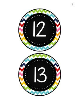 Rainbow Chevron Numbers and Shapes