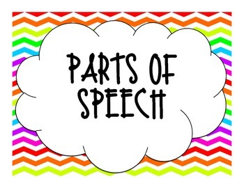 Rainbow Chevron Parts of Speech Poster
