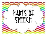 Rainbow Chevron Parts of Speech Poster