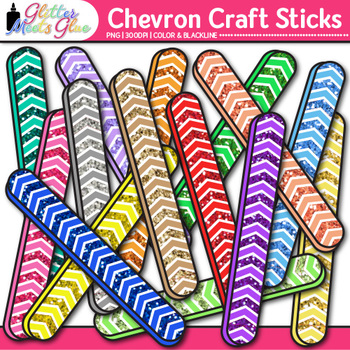 Chevron Craft Sticks Clip Art | Rainbow Glitter Popsicle Math Manipulatives