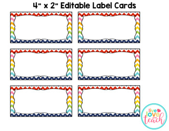 Rainbow Chevron Rectangle Labels EDITABLE